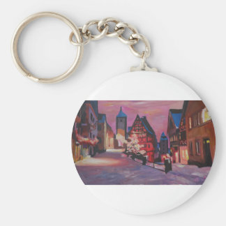 Romantic Rothenburg Tauber Germany in winter Basic Round Button Key Ring