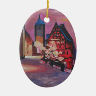 Romantic Rothenburg Tauber Germany in winter Ceramic Oval Decoration
