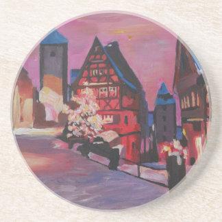 Romantic Rothenburg Tauber Germany in winter Beverage Coaster