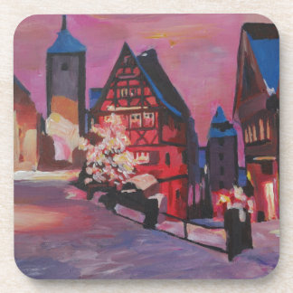 Romantic Rothenburg Tauber Germany in winter Drink Coasters