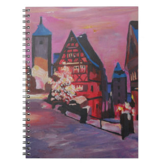 Romantic Rothenburg Tauber Germany in winter Spiral Note Book