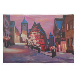Romantic Rothenburg Tauber Germany in winter Cloth Place Mat