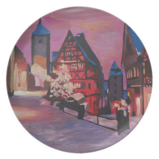 Romantic Rothenburg Tauber Germany in winter Plates