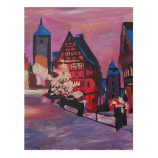 Romantic Rothenburg Tauber Germany in winter Postcard