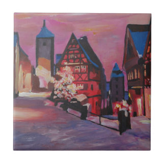 Romantic Rothenburg Tauber Germany in winter Tiles