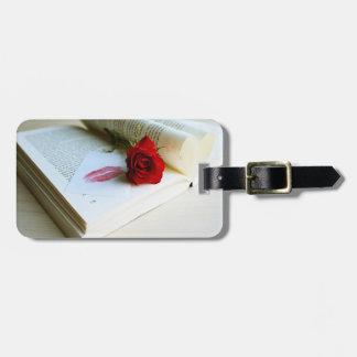 Romantic rustic book of love bag tag