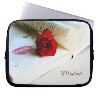 Romantic rustic book of love laptop computer sleeves