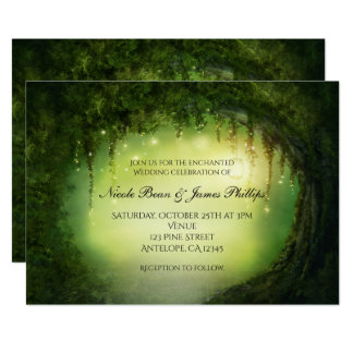Romantic Rustic Enchanted Forest Tree Invitations