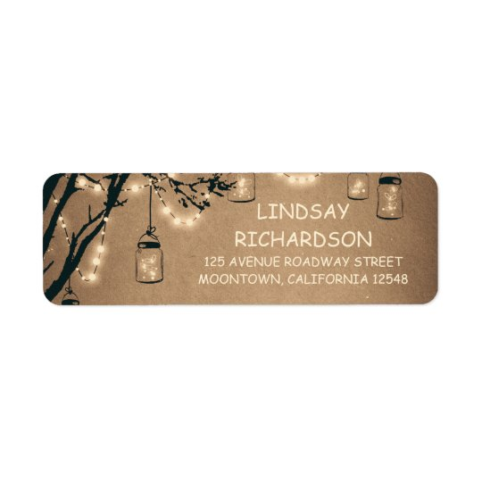 Romantic Rustic Fireflies Mason Jars Wedding Return Address