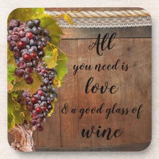 Romantic Rustic Grapes Wine Coasters