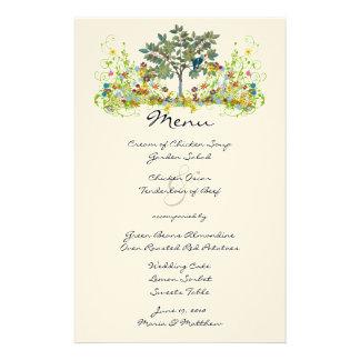 Romantic Rustic Lovebird Flower Swirl Wedding Menu Customised Stationery