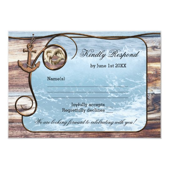 Romantic Rustic Nautical Wedding RSVP Card