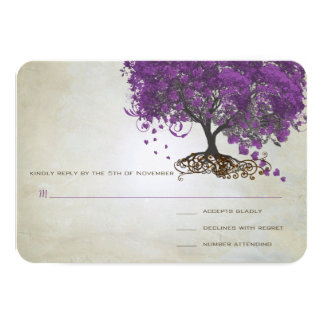 Romantic Rustic Purple Heart Leaf Tree Wedding Announcements