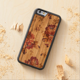 Romantic Rustic Rose on Wood iPhone case