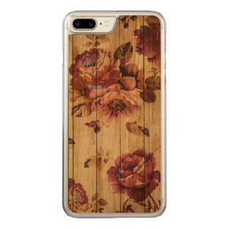 Romantic Rustic Roses on Cherry Wood iPhone case