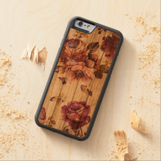 Romantic Rustic Roses on Wood iPhone case