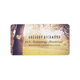 Romantic Rustic Tree and Heart Wedding Address Label