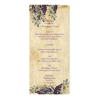 Romantic, Rustic, Winery Wedding Menu 10 Cm X 23 Cm Rack Card