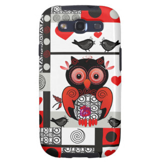 Romantic Samsung case with Owl & love birds Samsung Galaxy SIII Cover