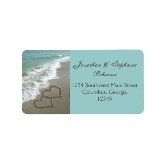 Romantic Sand Hearts Beach Address Label