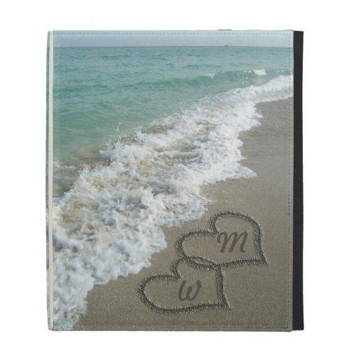 Romantic Sand Hearts Beach iPad Folio Covers