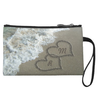 Romantic Sand Hearts Beach Wristlet Purses