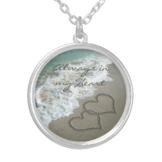 Romantic Sand Hearts on the Beach Personalized Silver Plated Necklace
