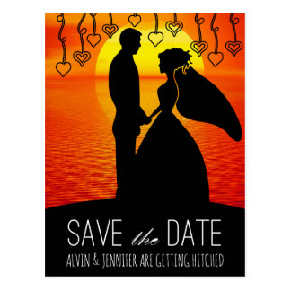 Romantic Save The Date Water Ocean Sunset Gold Postcard