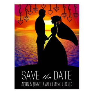 Romantic Save The Date Water Sunset Rainbow Postcard