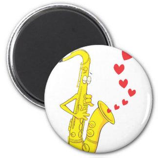 Romantic Saxophone Serenading 6 Cm Round Magnet