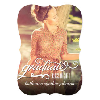 "Romantic Script Foil Graduation Photo Announcement 5"" X 7"" Invitation Card"