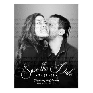 Romantic Script Save the Date Photo Postcard