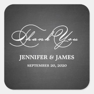 Romantic Script Thank You Wedding Favor Labels Square Stickers