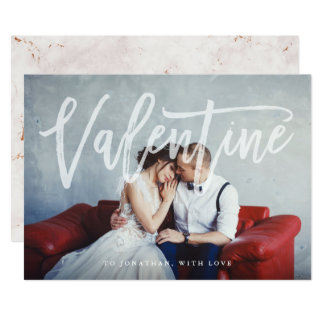 Romantic Script | Valentine with Photo and Marble Card