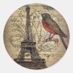 romantic scripts eiffel tower paris wedding round sticker