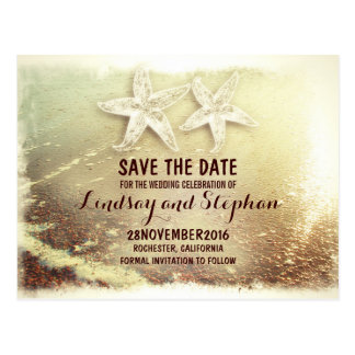 Romantic sea foam & starfish couple save the date postcard