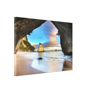 Romantic Seascape overcast sky at beach. Stretched Canvas Prints