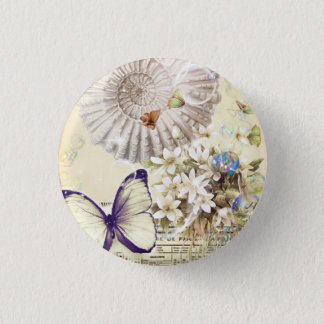 romantic seashells butterfly wedding favor 3 cm round badge