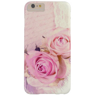 Romantic Shabby Chic Pink Rose Lace Script Barely There iPhone 6 Plus Case
