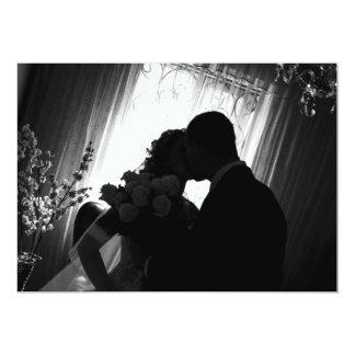 Romantic silhouette on wedding invitation