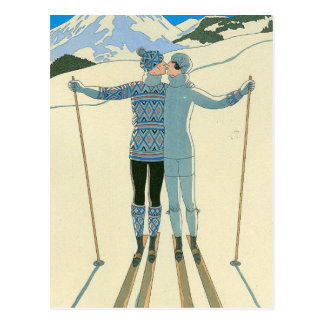 Romantic Skiers in Blue Postcard