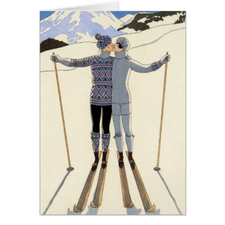 Romantic Skiing Couple Greeting Card