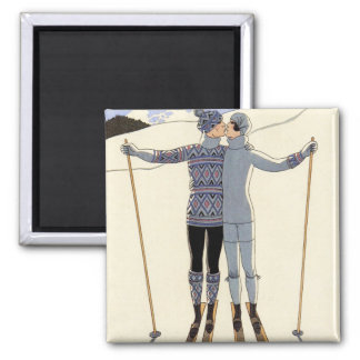 Romantic Skiing Couple Magnet