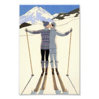 Romantic Skiing Couple Photographic Print
