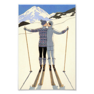 Romantic Skiing Couple Photo Print