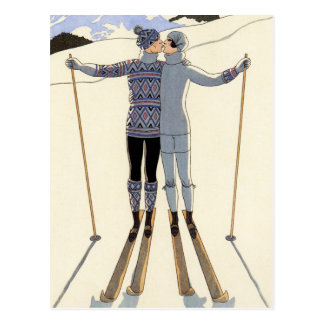 Romantic Skiing Couple Postcard