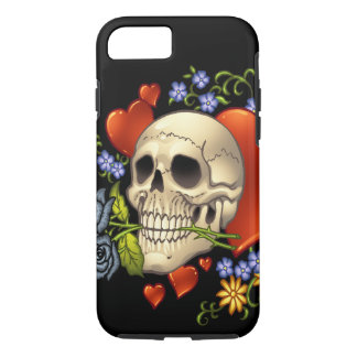 Romantic Skull Skeleton with Hearts and Flowers iPhone 7 Case