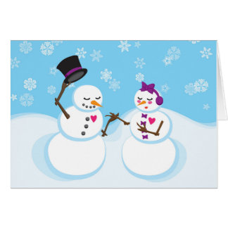 Romantic Snowman and Snowgirl Christmas Card