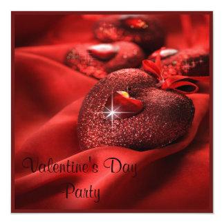Romantic Sparkle Hearts Valentine's Day Party 13 Cm X 13 Cm Square Invitation Card