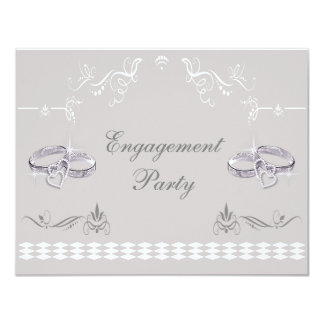 Romantic Sparkly Wedding Bands & Hearts Engagement 11 Cm X 14 Cm Invitation Card